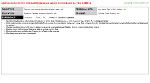 Resume Sample For Data Entry Operator by Data Entry Operator Job Title Docs