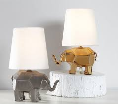 Elephant Table Lamp And Silver Mini Faceted Elephant Lamps