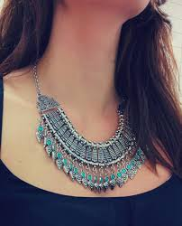 silver flower statement necklace images Bohemian fringe carving flower rivets collar statement coin jpg