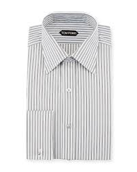 tom ford striped french cuff dress shirt in black for men lyst