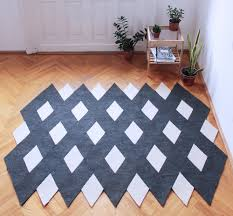 rhomboid army handmade modular rug carpet with carawonga