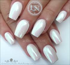 pearly chrome white acrylic u0026 gel nails luminous nails