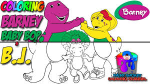 how to color barney baby bop and b j barney and friends