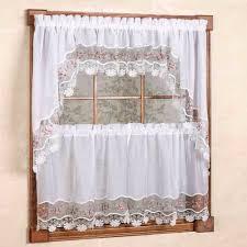 kitchen sheer curtains tiers valances vintage macrame