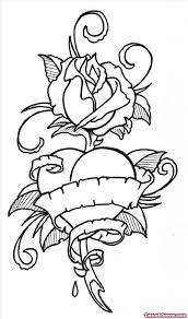 rose flower and banner heart tattoo design tattoo viewer com