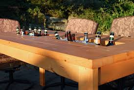 Patio Table Wood Diy Patio Table With Built In Beer Or Wine Cooler
