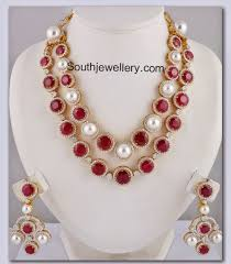 pearl ruby necklace images Royal ruby pearl necklace jewellery designs jpg
