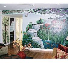 aj arts foyer with birds and trees