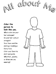 remarkable all about me coloring pages all about me page