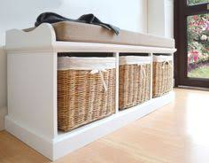 Bench With Baskets Tetbury Hallway Bench White Hallway Storage Bench With Cushion