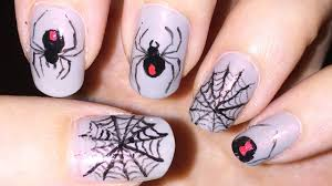black widow spider and spider web nail art halloween youtube