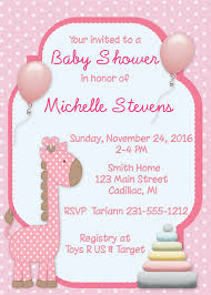 giraffe baby shower invitation u2013 storkbabygiftbaskets com