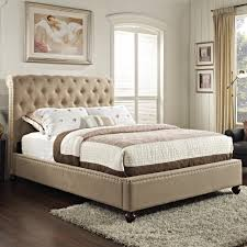 bedroom beige leather padded bed frame affordable upholstered beds