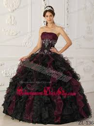 burgundy quince dresses burgundy and black gown strapless organza beading quinceanera