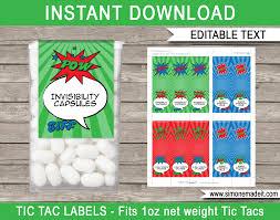 superhero party favor labels printable superhero tic tac labels
