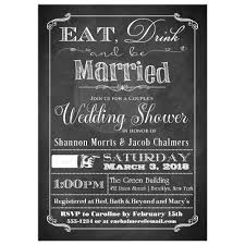 couples bridal shower s wedding shower invitation faux chalkboard eat drink