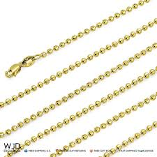 beaded gold chain necklace images 14k fully solid yellow gold moon cut 3mm bead ball chain necklace jpg