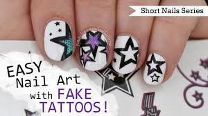 how to do nail art with fake tattoos nail art for short nails 7
