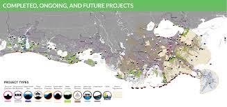 louisiana state map key coastal protection and restoration authority projects
