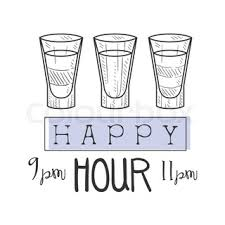 cocktail bar happy hour promotion sign design template collection