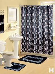 Rugs And Curtains Shower Curtains 17 Pcs Set Contemporary Bath Mat Contour Rug Hooks