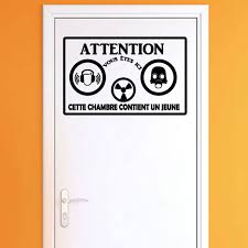 stickers pour porte de chambre sticker porte citation attention cette chambre stickers citations