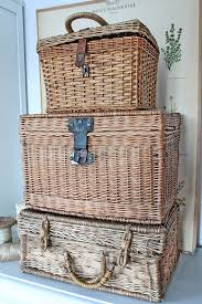 vintage wicker picnic baskets trunks and suitcases vintage