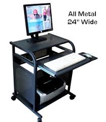 small black computer desk sts5801 metal narrow 24 inch black all metal computer cart