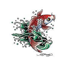 ed hardy koi fish temporary tattoo goimprints