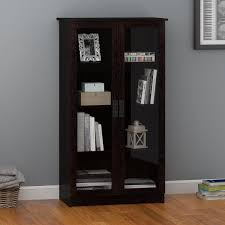 Glass Bookcase With Doors Ameriwood Home Quinton Point Glass Door Bookcase