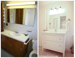 Ikea Sink With Non Ikea Faucet Thrifty Bathroom Makeover With An Ikea Hemnes Vanity The Happy
