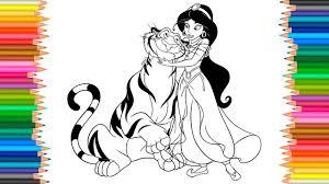 princess jasmine and rajah coloring pages l coloring book video