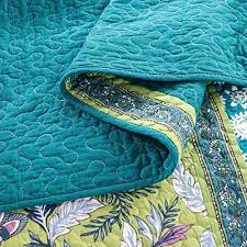 turquoise quilted coverlet dada bedding mediterranean fountain bohemian reversible cotton