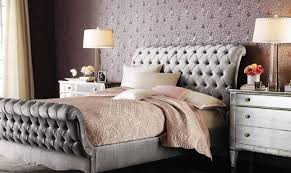 Tufted Sleigh Bed Bedroom Allure Glam Bedroom Ideas Glam Bedroom Ideas With