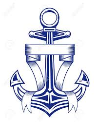 ancient anchor with ribbons for heraldic design royalty free