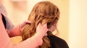 cute hairstyles for first communion communion hair tutorial waterfall braid youtube