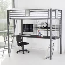 Loft Bed Frame With Desk Bedroom Bedroom Furniture Varnished Wooden Bunk Bed Built In