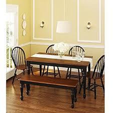 Black Wood Dining Room Set Amazon Com 6 Piece Solid Wood Dining Set Dark Oak Table