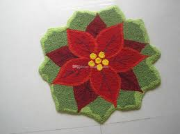 Christmas Rug New Hand Hooked Christmas Poinsettia Mat Living Door Mats Carpet