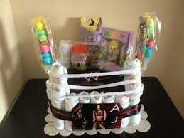 wrestling inspired diaper cake i made at the request of my nephew