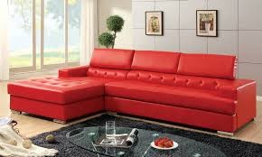 small l shape red leather sleeper sofa with short chaise combined