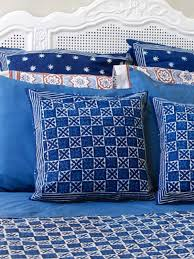 Starry Night Comforter Exotic Blue Batik Indian Standard Pillow Sham Cover Flanged