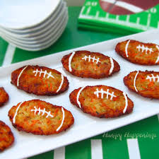 super bowl appetizers football shaped zucchini fritters aka