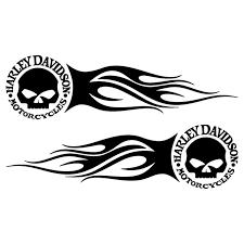 set of 2 harley davidson skull flames decals