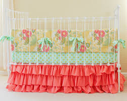 ruffle girls bedding sale 30 off coral mint gold crib bedding coral baby bedding