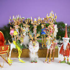 patience brewster dash away reindeer with santa sleigh ornaments