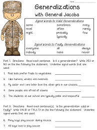 free worksheet for teaching about generalization statements