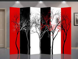 Tri Fold Room Divider Screens Double Sided Canvas Screen Room Divider Abstract Trees Room