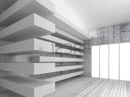 Decorative Beams Empty White Interior Background With Wooden Floor Concrete Walls