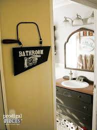 Rustic Bathroom Signs - repurposed direction sign prodigal pieces